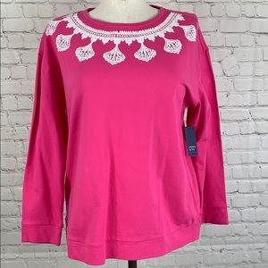Crown & Ivy Curvy Pink Sweater Scalloped Size 1X
